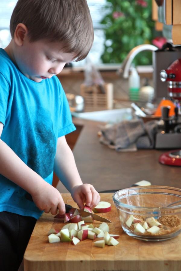 KIds in the kitchen making apple pancakes (noah)