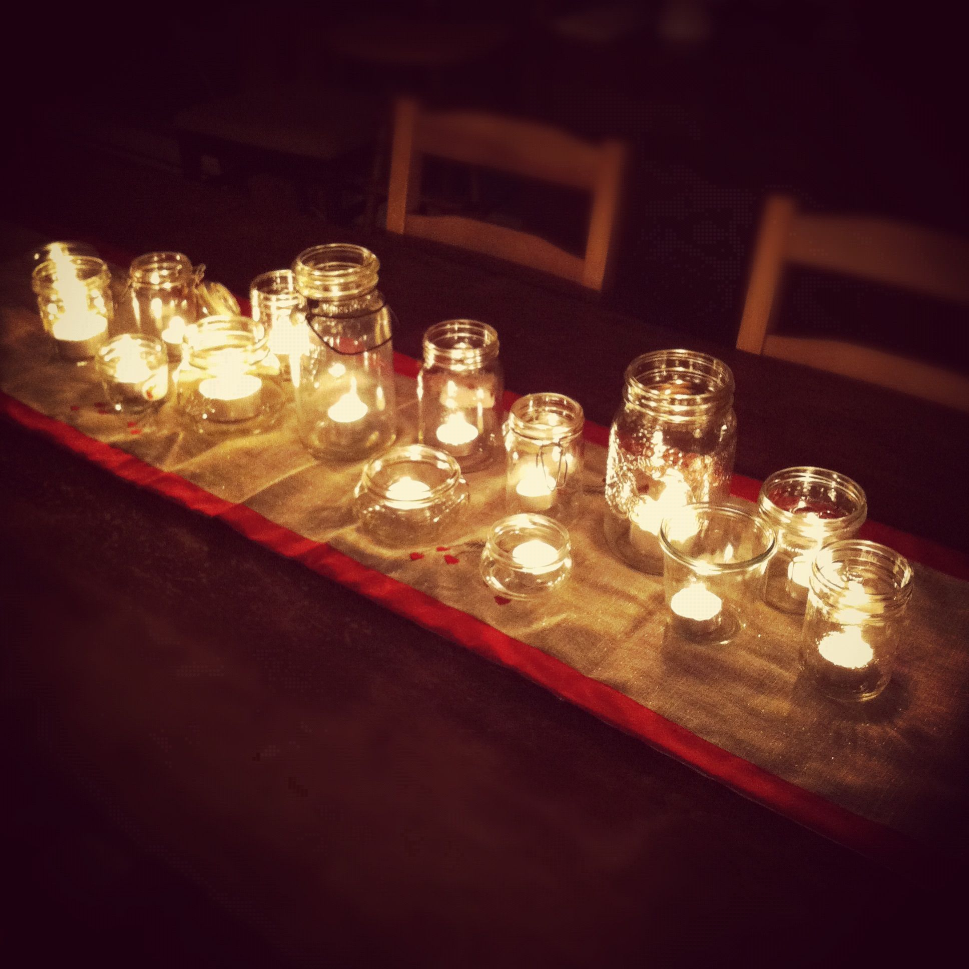 From The Kitchen A Simple Centerpiece Of Tea Lights In Jam Jars