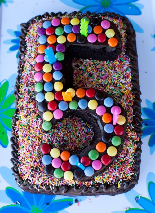Smartie birthday cake