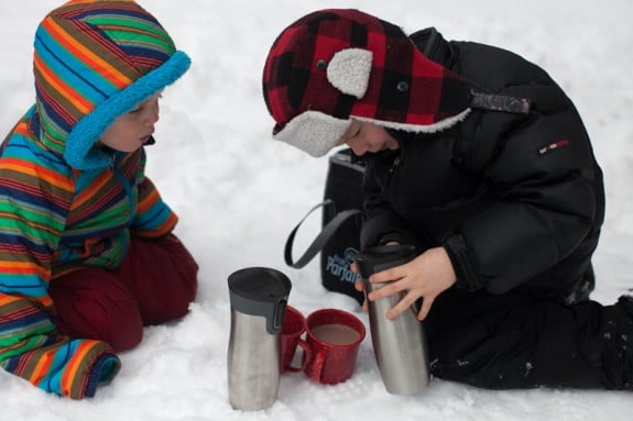 hot cocoa in the snow