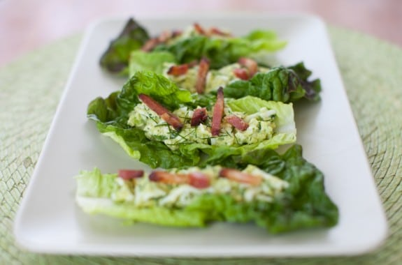 Avocado Egg Salad Lettuce Wraps with bacon on simplebites.net