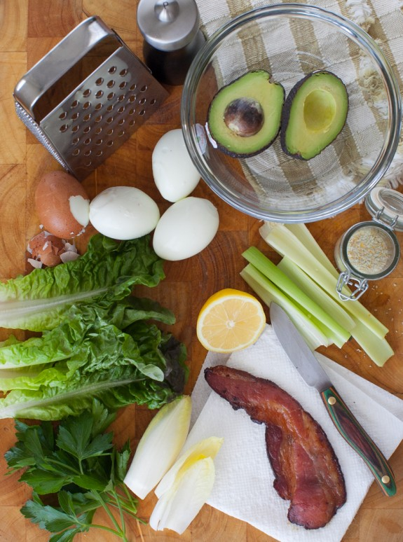 ingredients for avocado egg salad lettuce wraps