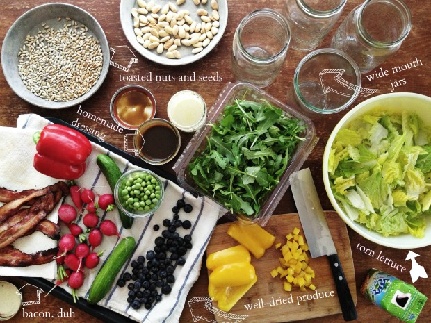 Tips for a week of salads in jars on simplebites.net #salad