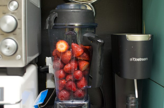 blending strawberries
