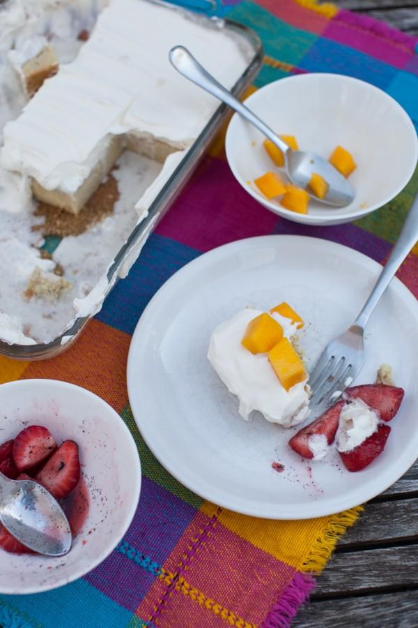Coconut Cinnamon Tres Leches Cake with Mango on simplebites.net