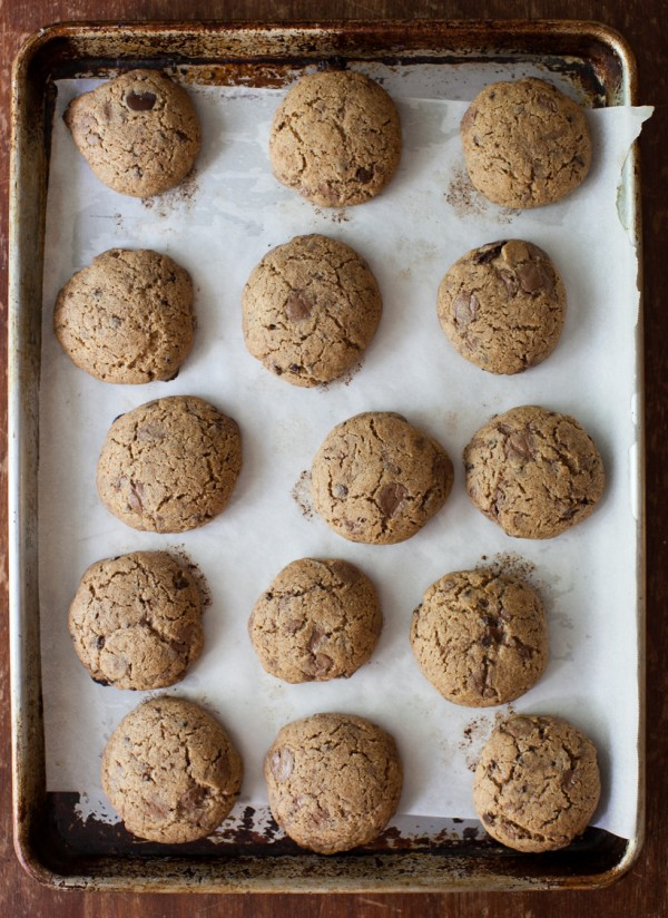 Honey whole-wheat chocolate chunk cookies on simplebites.net #cookies #chocolate