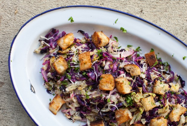 Roasted Cabbage Salad with Brown Butter Croutons