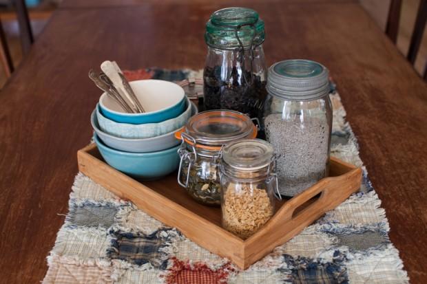 breakfast tray of oatmeal toppings