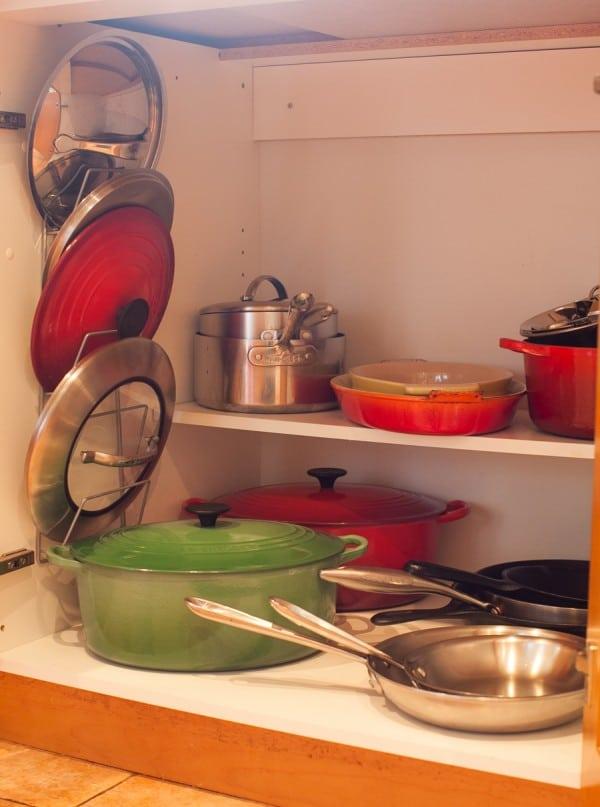 Simple Bites Kitchen Tour - pots & pans storage
