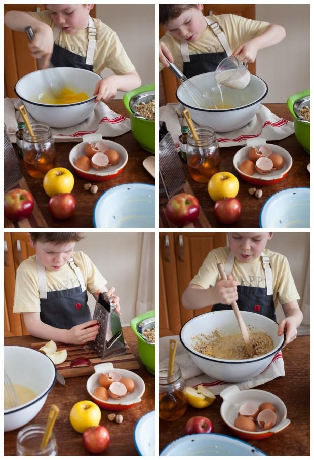Prepping Apple Pie Baked Oatmeal www.simplebites.net
