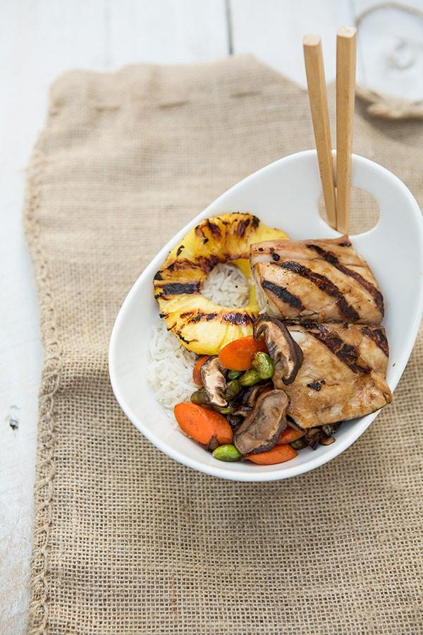 Teriyaki Mahi Mahi with Vegetables and Coconut Rice via SimpleBites.net