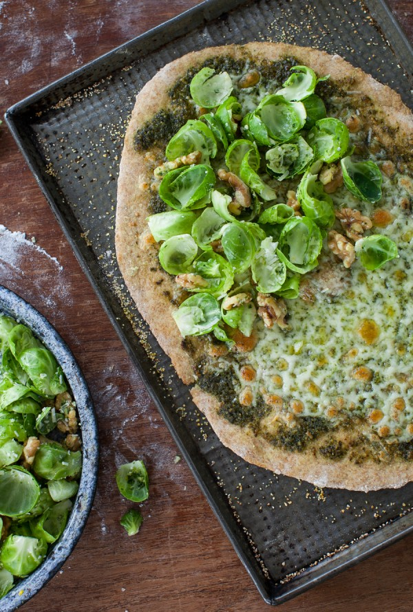 Brussel Sprout, Walnut & Pesto Pizza on Whole Wheat Crust | Simple Bites #dinner #vegetarian #recipe