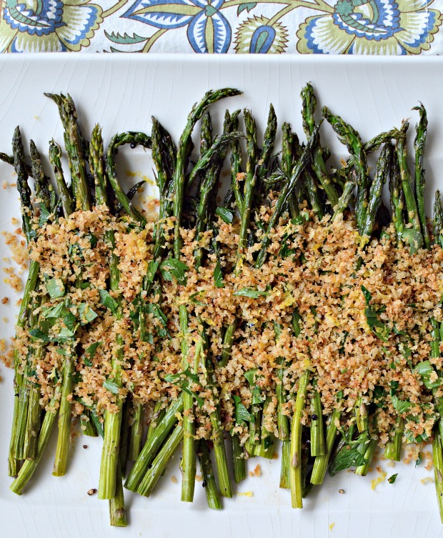 Roasted asparagus with toasted lemony breadcrumbs