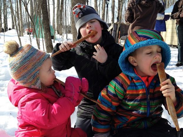 Our kids enjoying maple taffy.