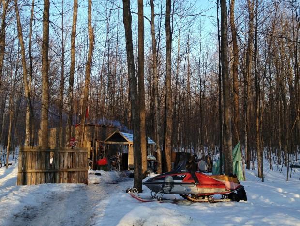 The sugar shack at dusk.