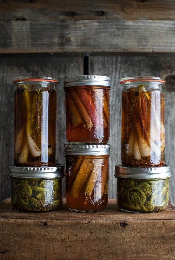 A trio of spring pickles: rhubarb, ramps & fiddleheads | Simple Bites #recipe #canning #pickles #eatseasonal