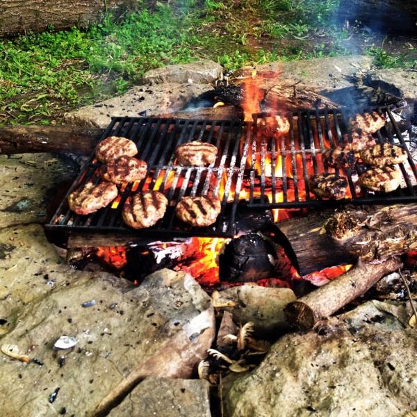 Open fire cooking sliders