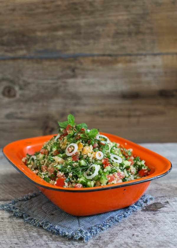 Kale Tabbouleh with Cucumber, Mint and Garlic Scapes | Simple Bites #recipe #salad #eatseasonal