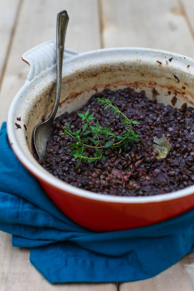 Beet Braised Lentils with Thyme and Apple | Simple Bites #recipe #dinner #vegetarian #meatlessmonday