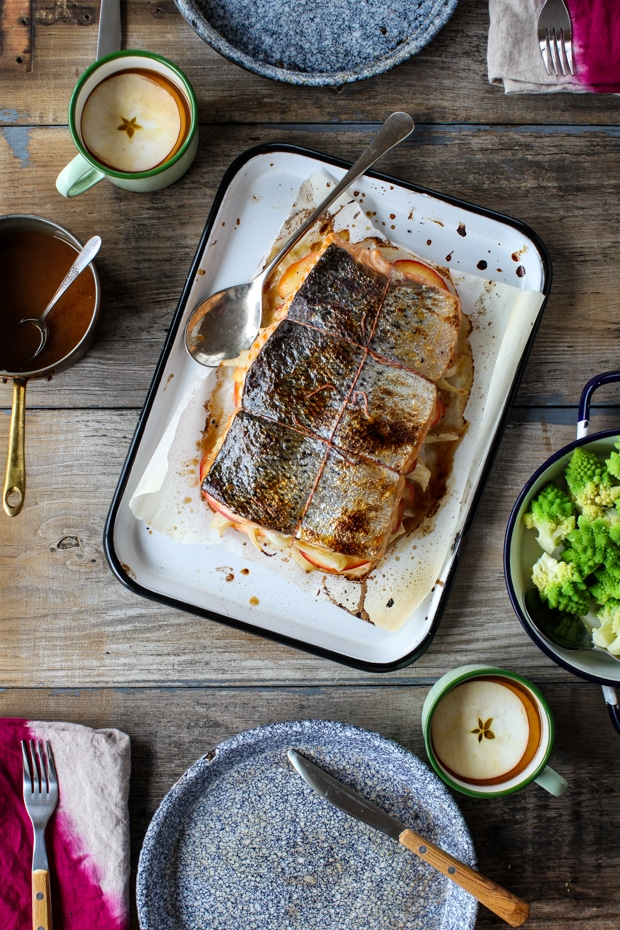 Apple & Fennel Stuffed Salmon with Cider Sauce | Simple Bites