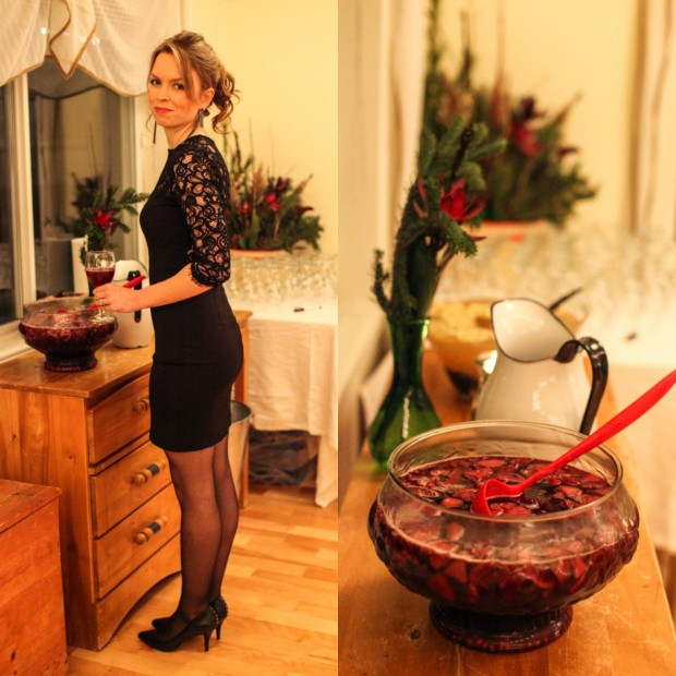Winter sangria party punch
