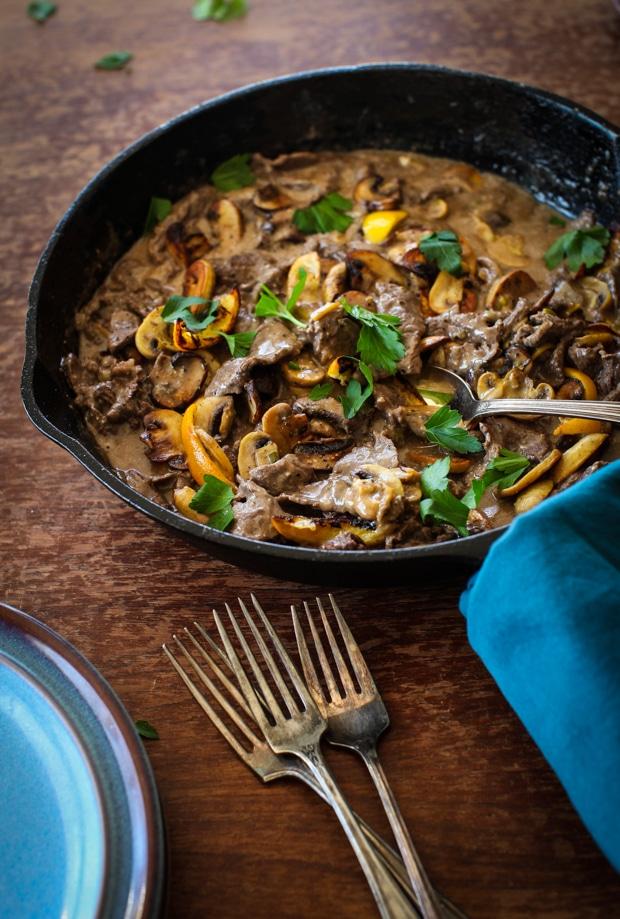 Beef Stroganoff with Roasted Mushrooms & Meyer Lemons | Simple Bites #dinner
