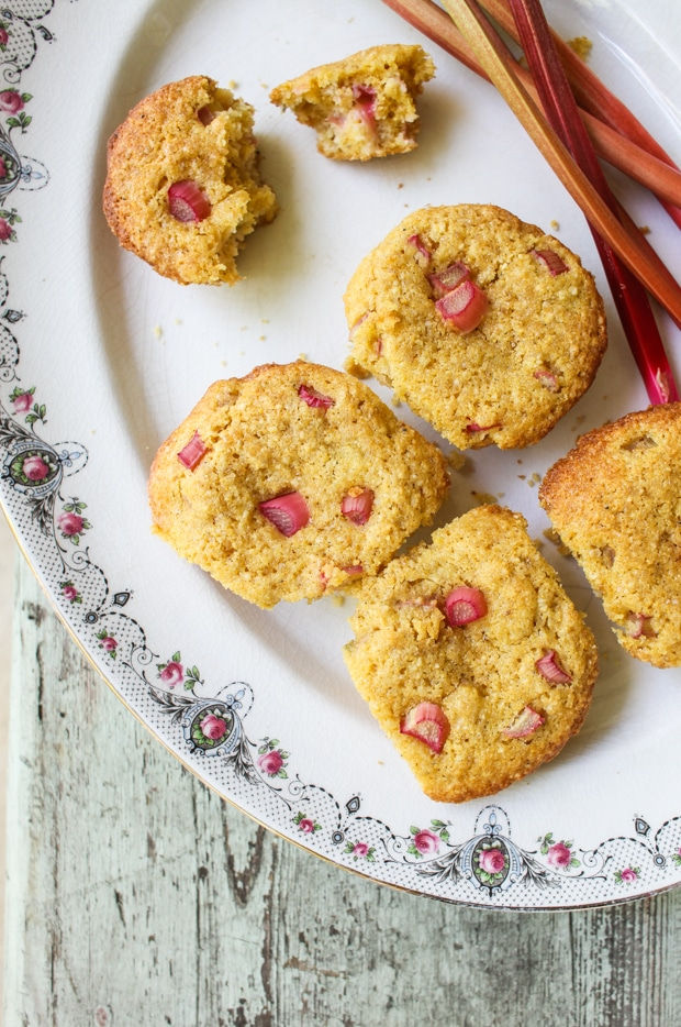 Rhubarb Cornmeal Muffins | Simple Bites #recipe #rhubarb