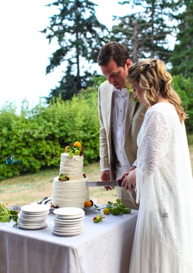 A simple, rustic wedding cake   Simple Bites #fruit #wedding #cake