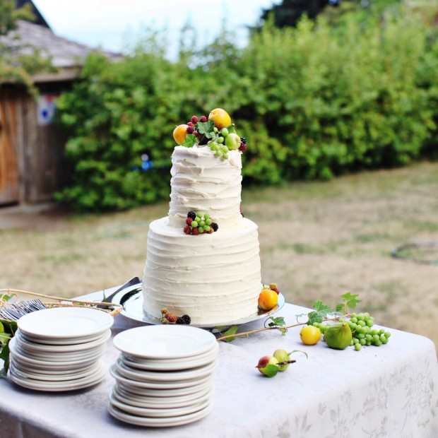 A simple, rustic wedding cake with fresh fruit   Simple Bites #cake #wedding #fruit