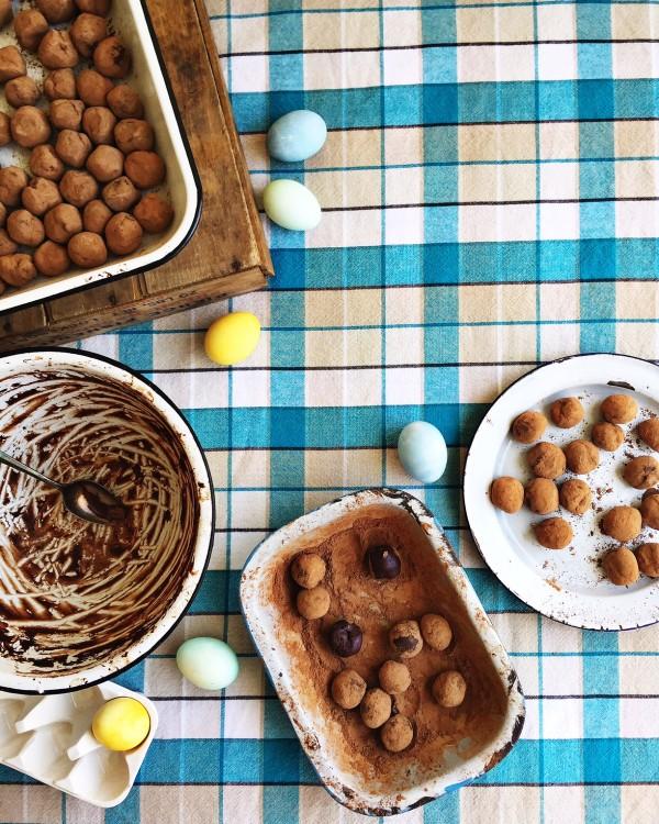 hand-rolled chocolate truffles