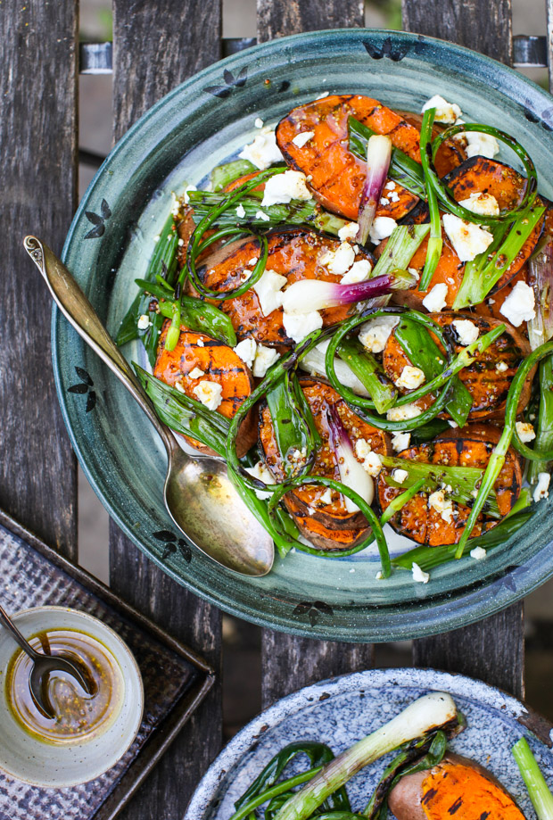 Grilled Green Onion & Sweet Potato Salad with Warm Chèvre | Simple Bites