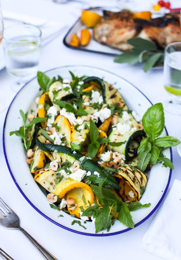 Grilled Zucchini Salad with Hazelnuts and Feta, Yogourt Mint Dressing | Simple Bites