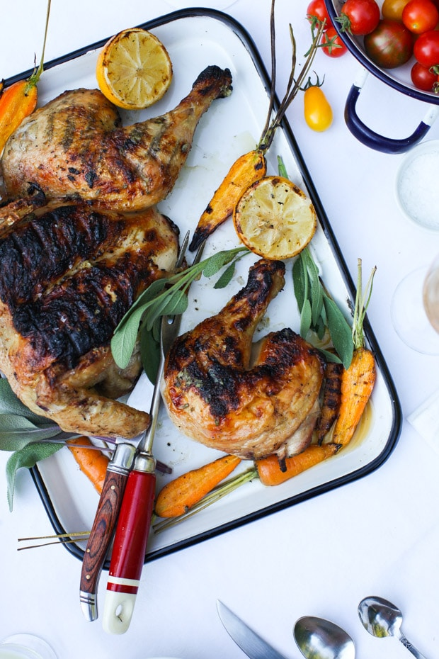 Sage-Rubbed Barbecued Chicken with Grilled Lemon | Simple Bites