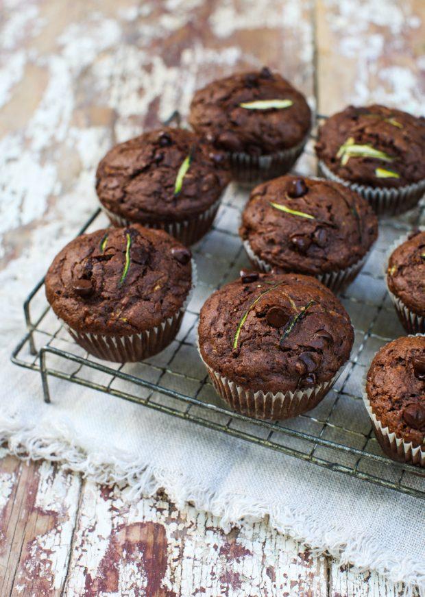 Dark Chocolate Zucchini Muffins | Simple Bites