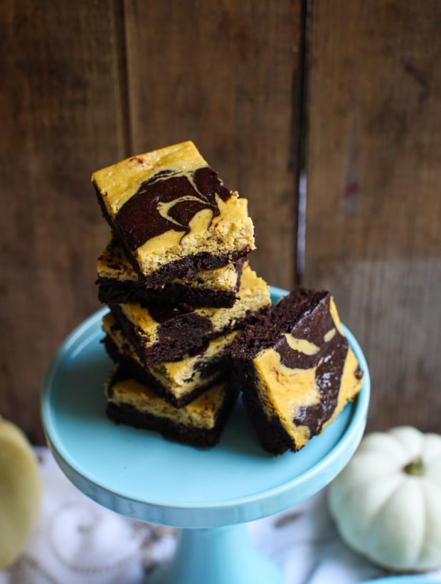 Spiced Pumpkin Cheesecake Brownies (gluten-free) || Simple Bites