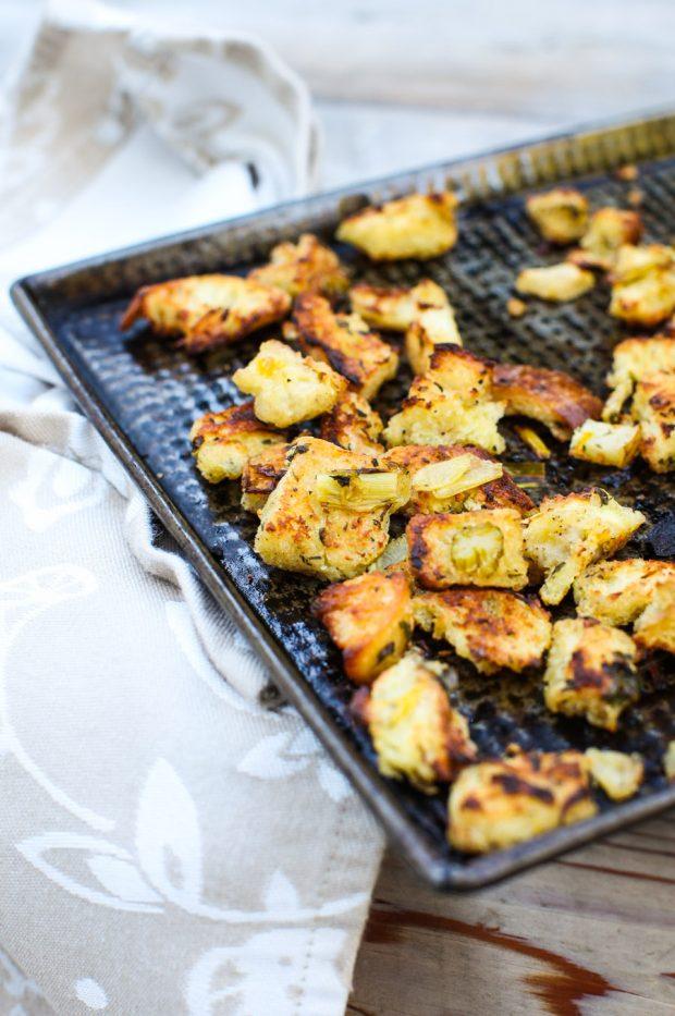 Leftover Sage Stuffing Croutons || Simple Bites